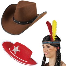 Cowboys en indianen hoeden