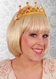 Tiara met kam prinses goud met gekleurde steentjes_