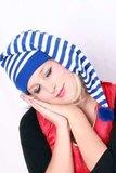 Slaapmuts blauw-wit