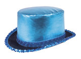 Hoge hoed shine blauw lurex_