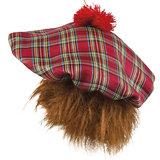 Schotse baret geruit met rand oranje haar_