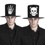 Hoge hoed zwart stof met opdruk skelethand_