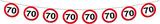 Slinger verkeersbord '70'  ca. 12 mtr OP=OP_