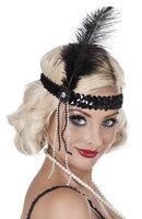 Charleston elastische hoofdband met zwarte veer