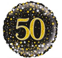 Folieballon '50' sparkling zwart/goud