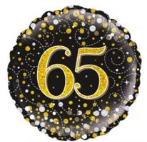 Folieballon '65' sparkling zwart/goud