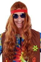 Hippie pruik bruin met hoofdband