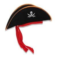 Piraten hoed fluweel, doodshoofd en rood lint