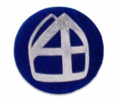 Button donkerblauw met mijter