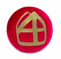 Button rood met mijter