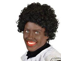 Zwarte Piet pruik stretchkap met nekstuk