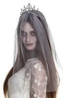 Bruidsluier zombie grijs met kroontje