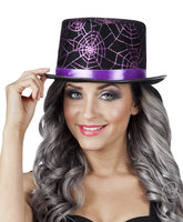 Hoge hoed zwart met glitter web