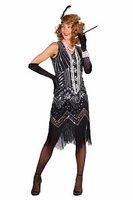 Charleston jurk Catherine zilver-zwart