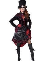 Steampunk jurk Victoria rood-zwart
