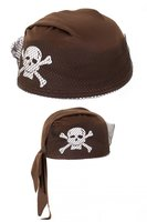 Piraten cap, met netje en doodshoofd bruin OP=OP
