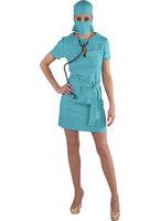 Chirurg dames 4-delig: jurk, hoofdkap, band en mondkap