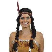 Indiaanse pruik met vlechtjes en hoofdband
