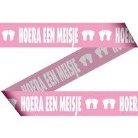Afzetlint roze 'hoera een meisje' 15 mtr.