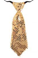 Stropdas glitter pailletten goud ca. 21 cm