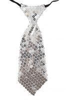 Stropdas glitter pailletten zilver ca. 21 cm