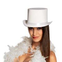 Hoge hoed wit satijn