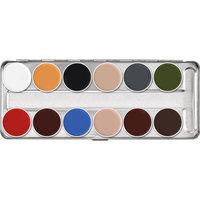 Kryolan supra color (vet)schminkpalet B 12 basis kleuren.