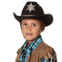 Cowboyhoed vilt, sherrif junior zwart