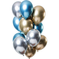 Ballonnen set Mirror Saphire 12 stuks