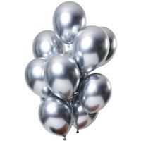 Ballonnen set Mirror Silver 12 stuks