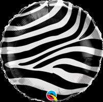 Folieballon Zebra rond 45 cm