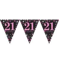 Vlaggenlijn 21 jaar sparkling zwart/roze met opdruk: 'happy birthday'