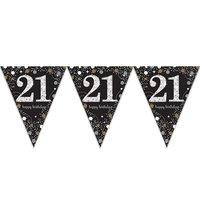 Vlaggenlijn 21 jaar sparkling zwart/goud met opdruk: 'happy birthday'