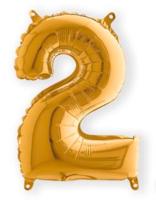 Folie ballon cijfer 2 goud 35 cm voor luchtvulling