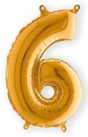 Folieballon cijfer 6 goud 35 cm voor luchtvulling