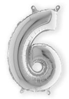 Folieballon cijfer 6 zilver 35 cm voor luchtvulling