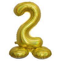 Folieballon cijfer 2 holografisch goud 82 cm