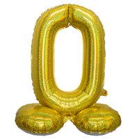 Folieballon cijfer 0 holografisch goud 82 cm