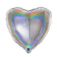 Folieballon hart zilver glitter 46 cm