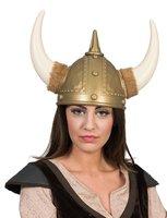 Vikinghelm goud met bont volwassen