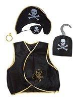 Piratenset kinderen 5-delig: piratenvest, hoedje, ooglapje, oorbel en haak