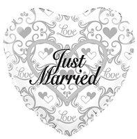 Folie hartballon wit 'Just Married' 46 x 49 cm