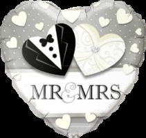 Folieballon hart huwelijk 'Mr & Mrs'