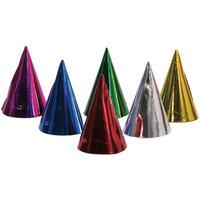 Feesthoedjes metallic gekleurd 6 stuks