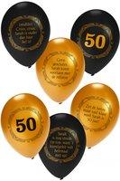 Ballonnen Sarah 50 jaar goud-zwart