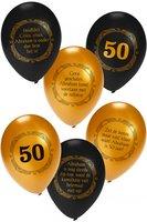 Ballonnen Abraham 50 jaar goud-zwart