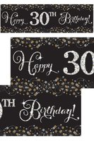 Banner Happy ... Birthday sparkling zwart/goud - met losse cijfers