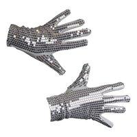 Handschoenen pailletten zilver