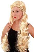 Pruik met krullen en lange vlecht blond