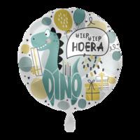 Folieballon Dino Hiep hiep hoera 43 cm